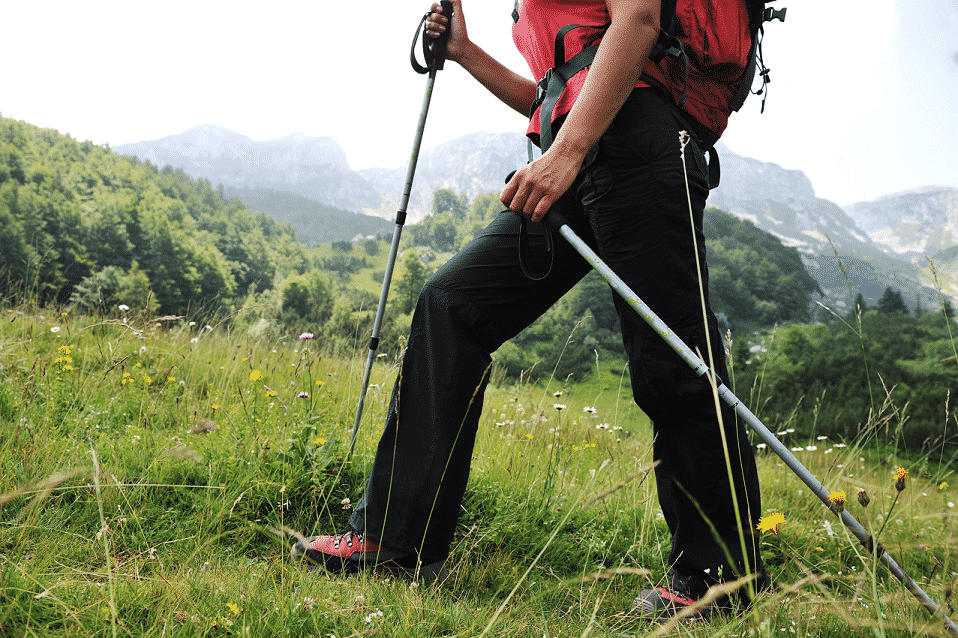 Hiker using hiking poles in a mountain meadow