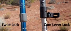 Hiking Pole Locks twisting and Cam Lever Lock