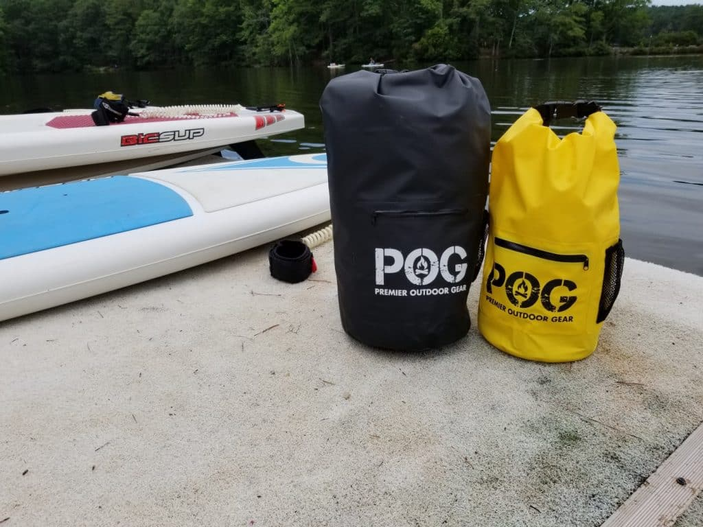 Two POG Waterproof Dry Bags with Paddle Board