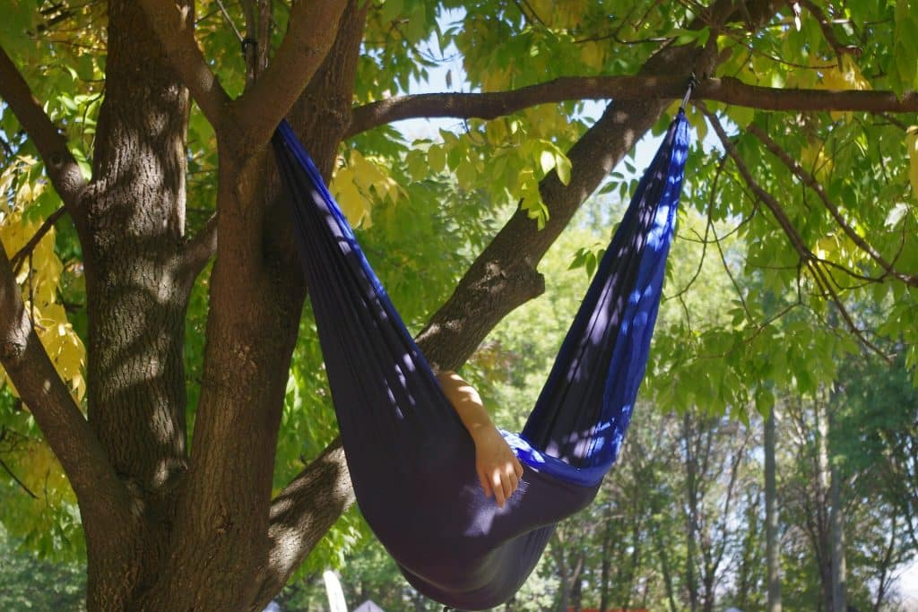 Picture of ripstop Camping Hammock hung in a tree