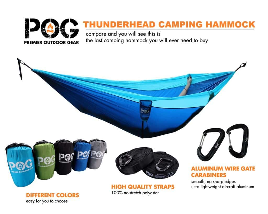 POG Thunderhead Best Double Camping Hammock Set with straps, carrying bag and aluminum wire gate carabiners
