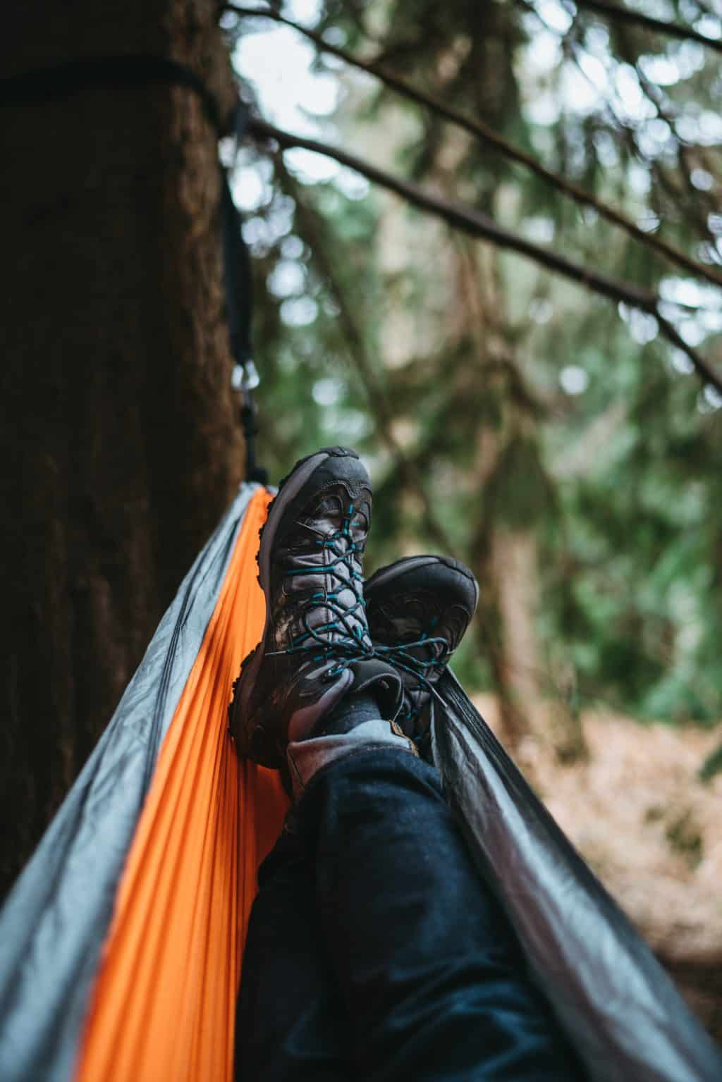 Relaxing in lightweight camping hammock